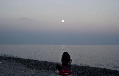 Luna sullo Ionio al tramonto